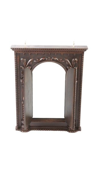 Wood Curved Antique Finish Mirror