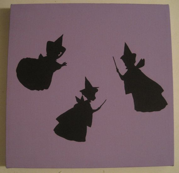 Disney Silhouette Painting  Flora Fauna and Merryweather Sleeping Beauty by ListfulLife on Etsy, $15.00