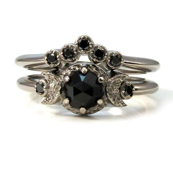 Black Diamond and Black Spinel Moon Engagement  - Victorian Gothic Palladium White Gold Ring Set