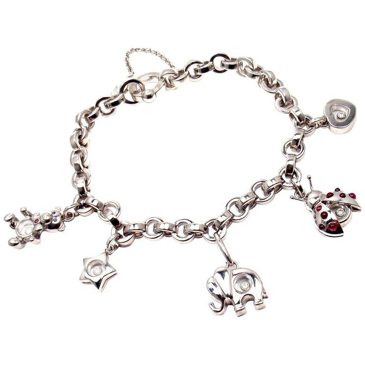 Chopard Happy Diamond Elephant Ruby Ladybug Bear Heart White Gold Charm Bracelet | From a unique collection of vintage charm bracelets at https://www.1stdibs.com/jewelry/bracelets/charm-bracelets/