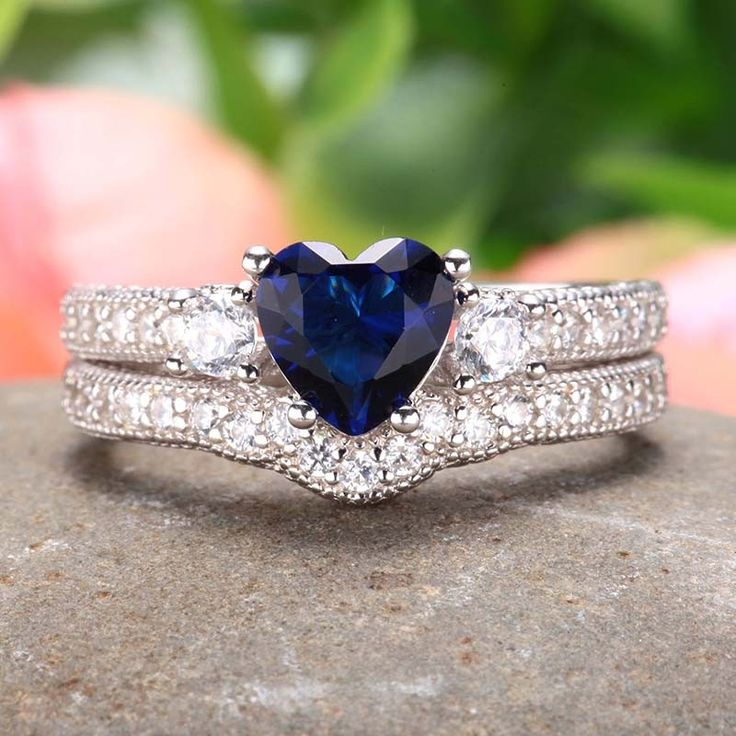 Blue Heart CZ 925 Sterling Silver Engagement / Wedding Ring Bridal Set $69.95