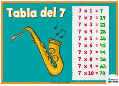 Tabla del 7 y el saxofón para aprender a multiplicar y algunos instrumentos musicales a la vez. Indicada para niños de Primaria.