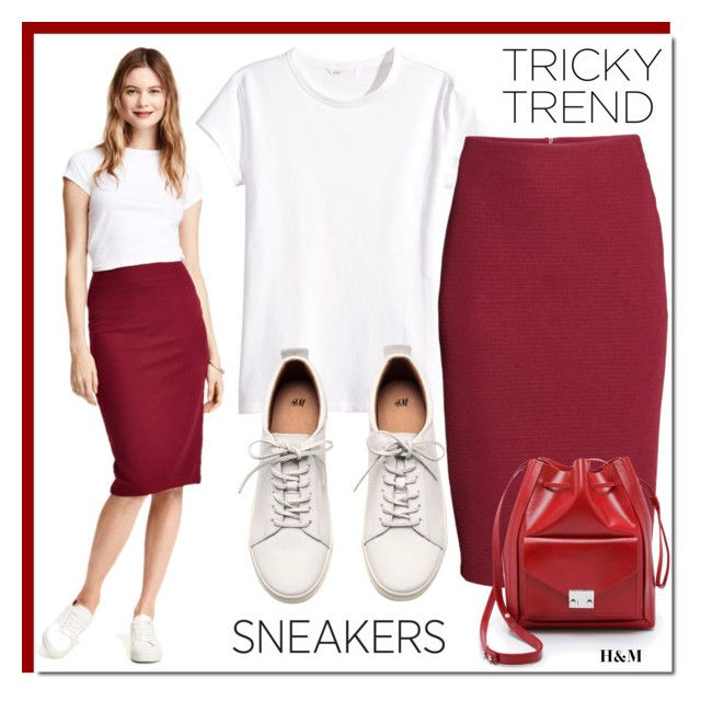 """Tricky Trend: Pencil Skirts and Sneakers"" by rosie305 ❤ liked on Polyvore featuring H&M, Loeffler Randall, TrickyTrend and pencilskirtandsneakers"