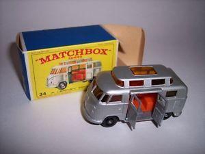 VINTAGE  MATCHBOX CAMPERS | 34C-Vintage-1960s-Lesney-Matchbox-Car-34-1967-VW-Volkswagen-Camper-Bus ...
