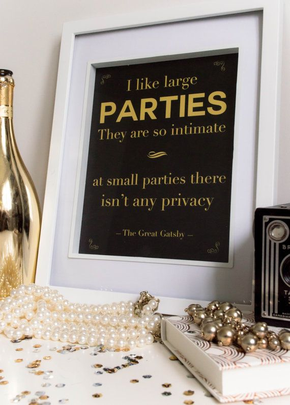 PRINTABLE Quote Art // Gatsby quote, gatsby party, gold print, gatsby print, wall art, great gatsby, quote poster