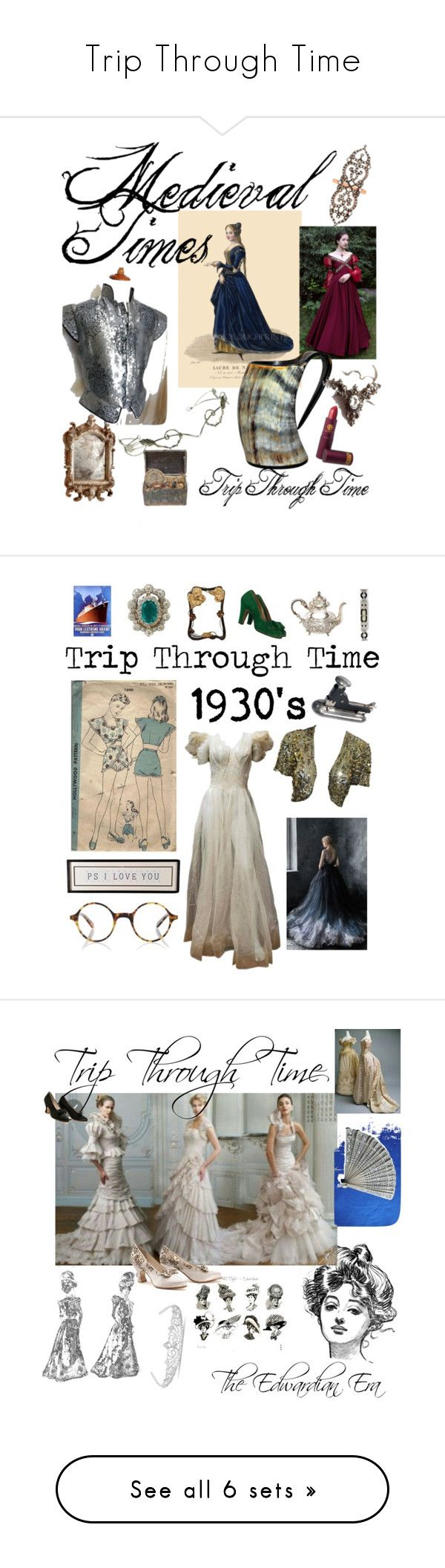 """""""Trip Through Time"""" by phoenix-ufacika ❤ liked on Polyvore featuring Sabine Getty, Cyan Design, Lipstick Queen, Tiffany & Co., Finlay & Co., Jon Richard, PAM, Lee, BERRICLE and Lacoste"""