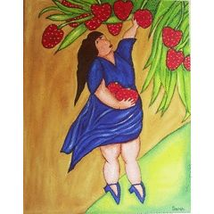 Strawberry picking LARGE painting - 71 x 56 cm for R575.00