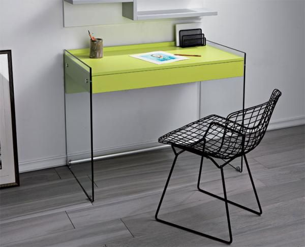 Pezzani Contemporary #Desk with Glass Sides and Drawer Choice of Colour
