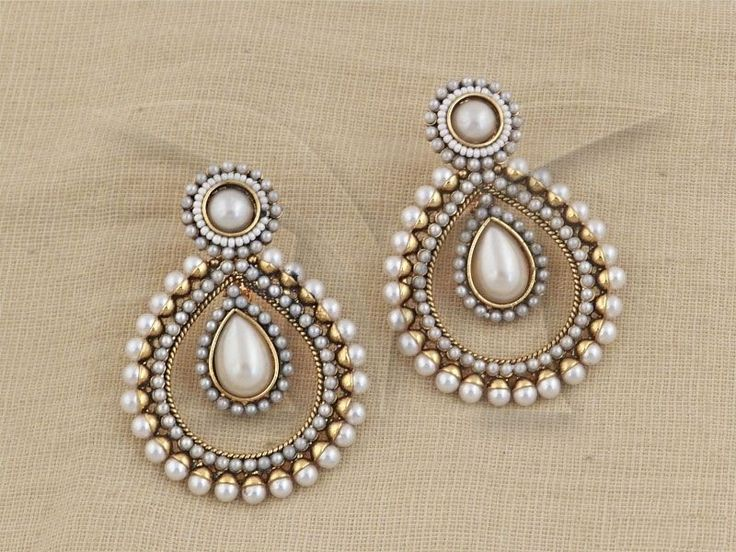Indian PakistaniEthnic Gold Platd Pearl Moti White Jhumki Bali Tops Drop Earring