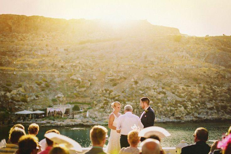 #GoldenAppleWeddings - #DestinationWedding In St. Paul #Lindos #weddingceremony #beachwedding #weddingplanners