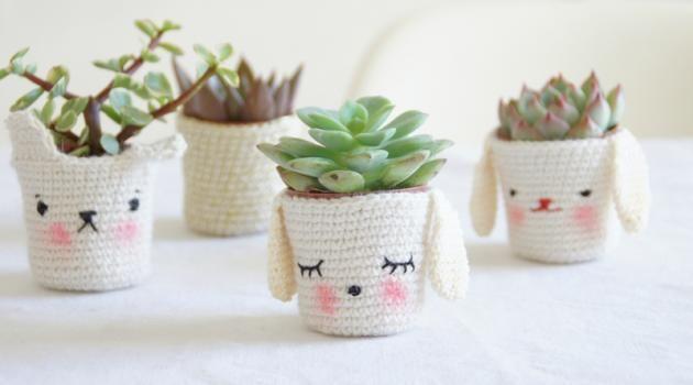 Petits cache-pots pour mini plantes grasses