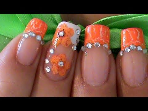 orange nails, without the gems and flowers - 145 Best Orange Nail Art Images On Pinterest Orange Nails, Make