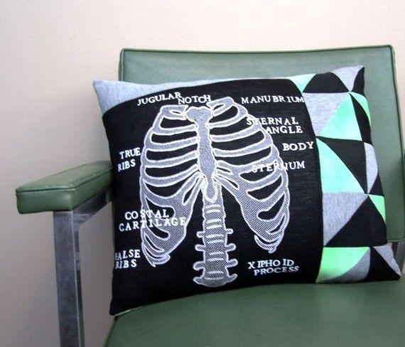 RIB CAGE DIAGRAM vintage shirt throw pillow OOAK by BarnabyHuxley, $50.00