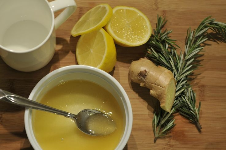 Detox Tea:You only need five ingredients: fresh rosemary, sliced lemon, peeled ginger, organic honey, and boiling water.