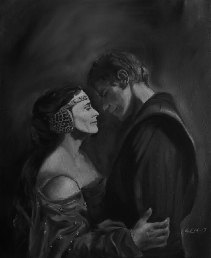 """""""Star-cross'd lovers"""". Play the theme Across the stars, from Star Wars episode II and you will get the right feeling about this painting."""