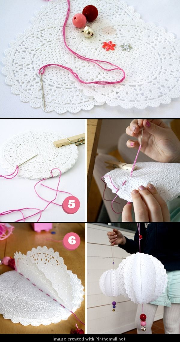 Ornaments, made from paper doilies. Maybe something to do with crochet doilies?
