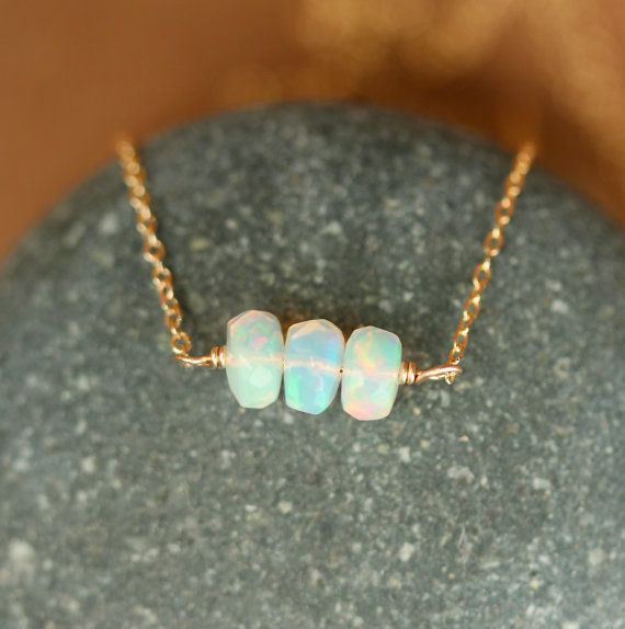 Fire opal necklace opal necklace genuine opal by BubuRuby