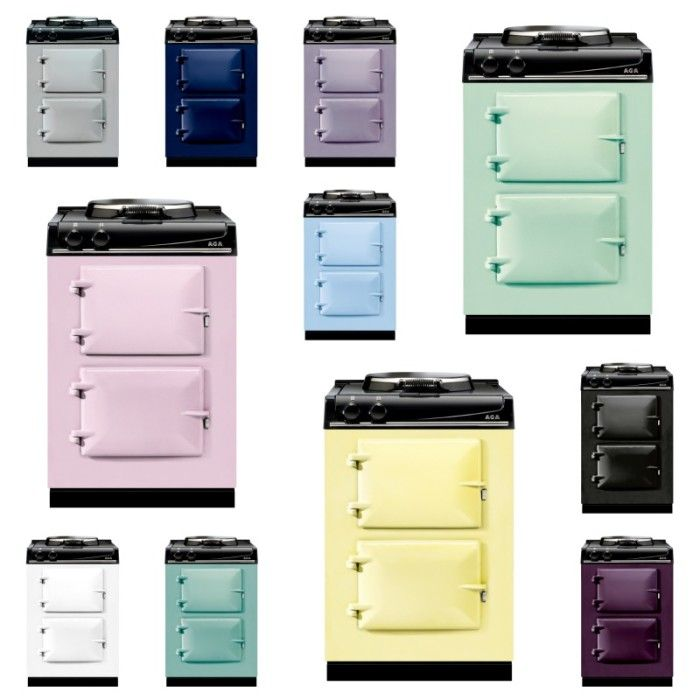 New look colourful AGA small freestanding 60cm cookers - probably pink, but white would be so much more practical