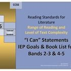 "Text Complexity book list for 2-3 & 4-5 bands, IEP goals and ""I Can"" statements for Reading Standards for Literature Range of Reading and Level of Text Complexity K-5 Common Core standards."