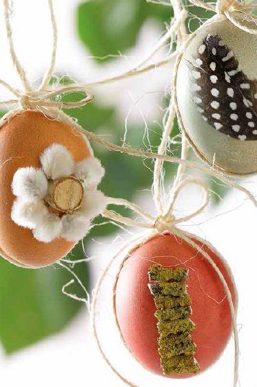 Ostereier mit Naturmaterialien dekorieren