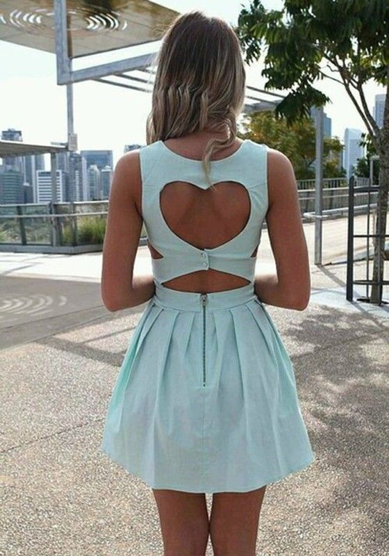 Light Blue Plain Heart Cut Out Pleated Dress