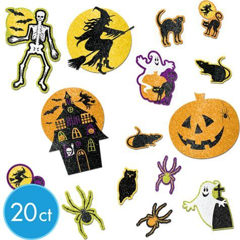 gotta have wall decorations too halloween glitter cutouts mega value pack party city - Halloween Cutout Decorations