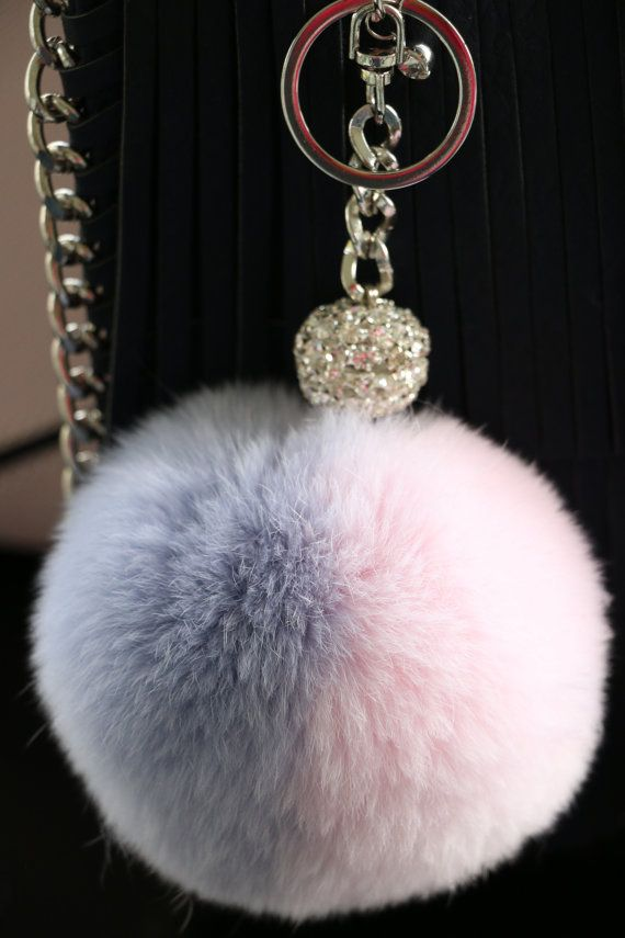 New! Rose Quartz and Serenity (Pantone Colors of the Year 2016) Two-tone Faux Rabbit Fur Pom-Pom Key Chain and Purse Accessory
