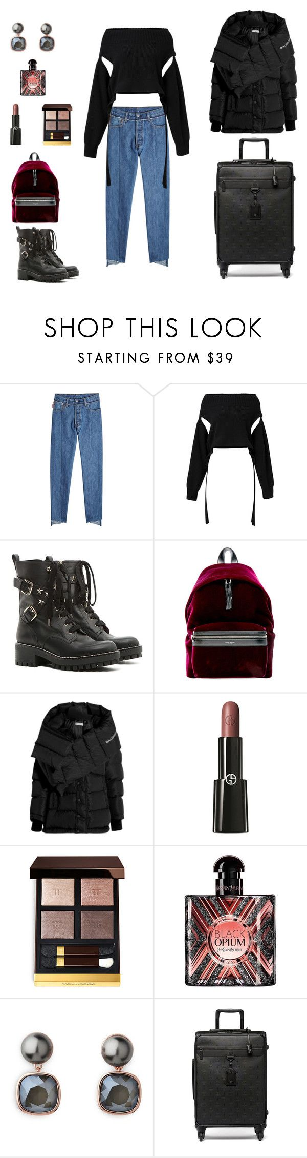 """""""#10.01.18 airport 🛬 Moscow 🇷🇺"""" by thedustyroses ❤ liked on Polyvore featuring Vetements, Dorothee Schumacher, RED Valentino, Yves Saint Laurent, Balenciaga, Giorgio Armani and MCM"""