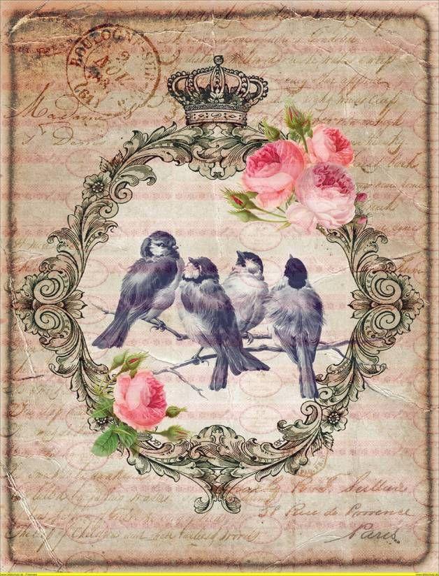 Bügelbilder - A4 Vintage Vogel Bird Label Bügelbild Shabby - ein Designerstück von Doreens-Bastelstube bei DaWanda