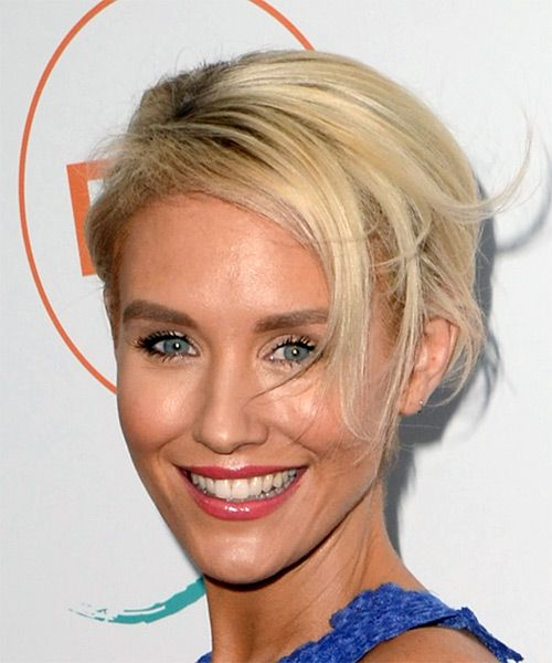 Nicky Whelan Short Straight Bob Hairstyle - Light Blonde - side view