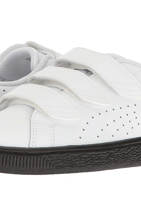 Puma Kids Basket Classic Velcro BW Jr (Big Kid) (Puma White/Puma White) Kids Shoes - Puma Kids, Basket Classic Velcro BW Jr (Big Kid), 36339302-100, Footwear Closed Hook and Loop, Hook and Loop, Closed Footwear, Footwear, Shoes, Gift - Outfit Ideas And Street Style 2017