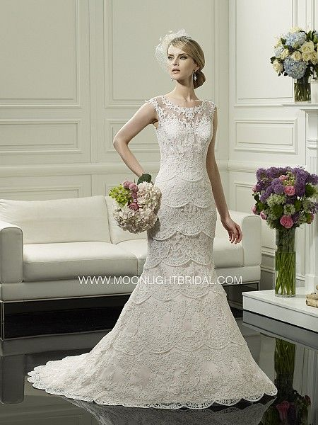 Lace mermaid gown with layers and straps. Vintage wedding dress, Wedding. Moonlight Couture style H1249.