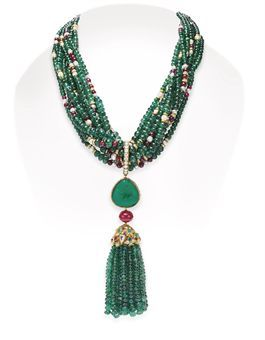 AN EMERALD, DIAMOND, RUBY AND PEARL NECKLACE