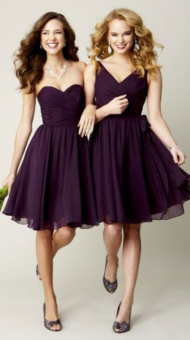 Getting Hitched? | (201) Bride wine-inspired wedding ideas bridesmaids dresses purple cocktail. Different color.
