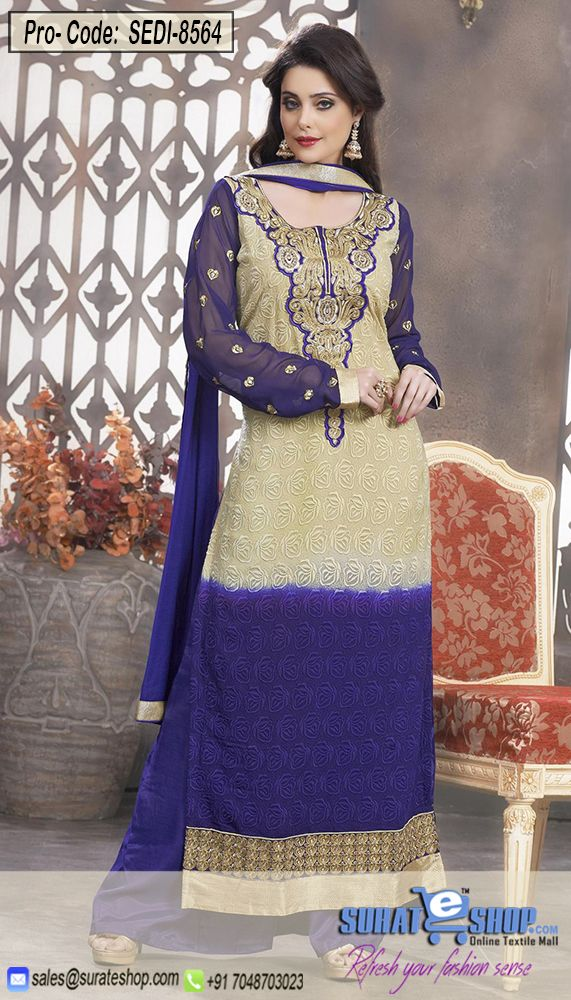 Be An Angel & Create, Establish A Smashing Effect On Everyone By Wearing This Beige & Deep Purple Faux Georgette Salwar Kameez. Beautified With Butta Work, Lace, Resham, Stones Work All Synchronized Very Well With All The Design And Design Of The Attire. Paired With A Matching Bottom Comes With A Matching Dupatta   Visit: http://surateshop.com/product-details.php?cid=2_27_63&pid=12249&mid=0