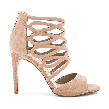 "Kirsi heels by Vince Camuto. Suede upper with man made sole. Caged cut-out detail. Back zip closure. Heel measures approx 4"""" H. VCAM-WZ188. KIRSI..."