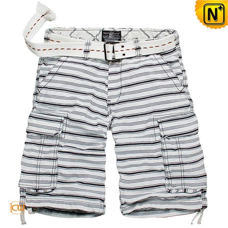 Cotton Striped Cargo Shorts for Men