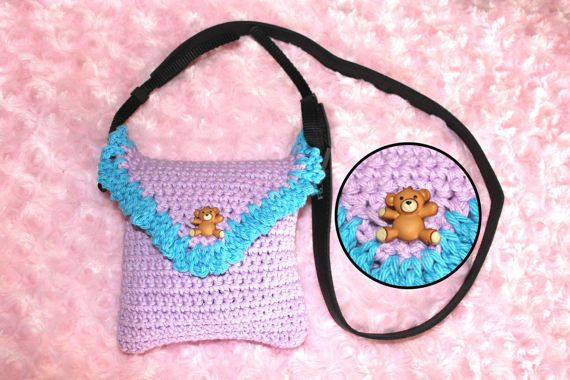 WildBeary Hand-Crocheted Polaroid Instax Mini 90 Camera Case, Handmade, Purple, Blue, Crochet Case, Kawaii. Cute, Teddy Bear, Polaroid Case