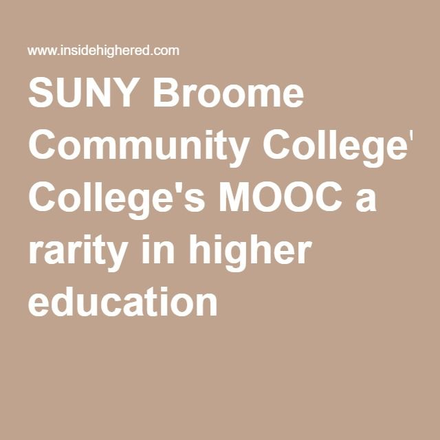SUNY Broome Community College's MOOC a rarity in higher education