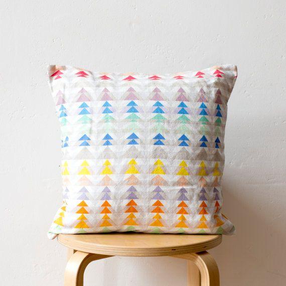 Triangle Geometric Print Cushion: 'Pins & by PixelAndThread