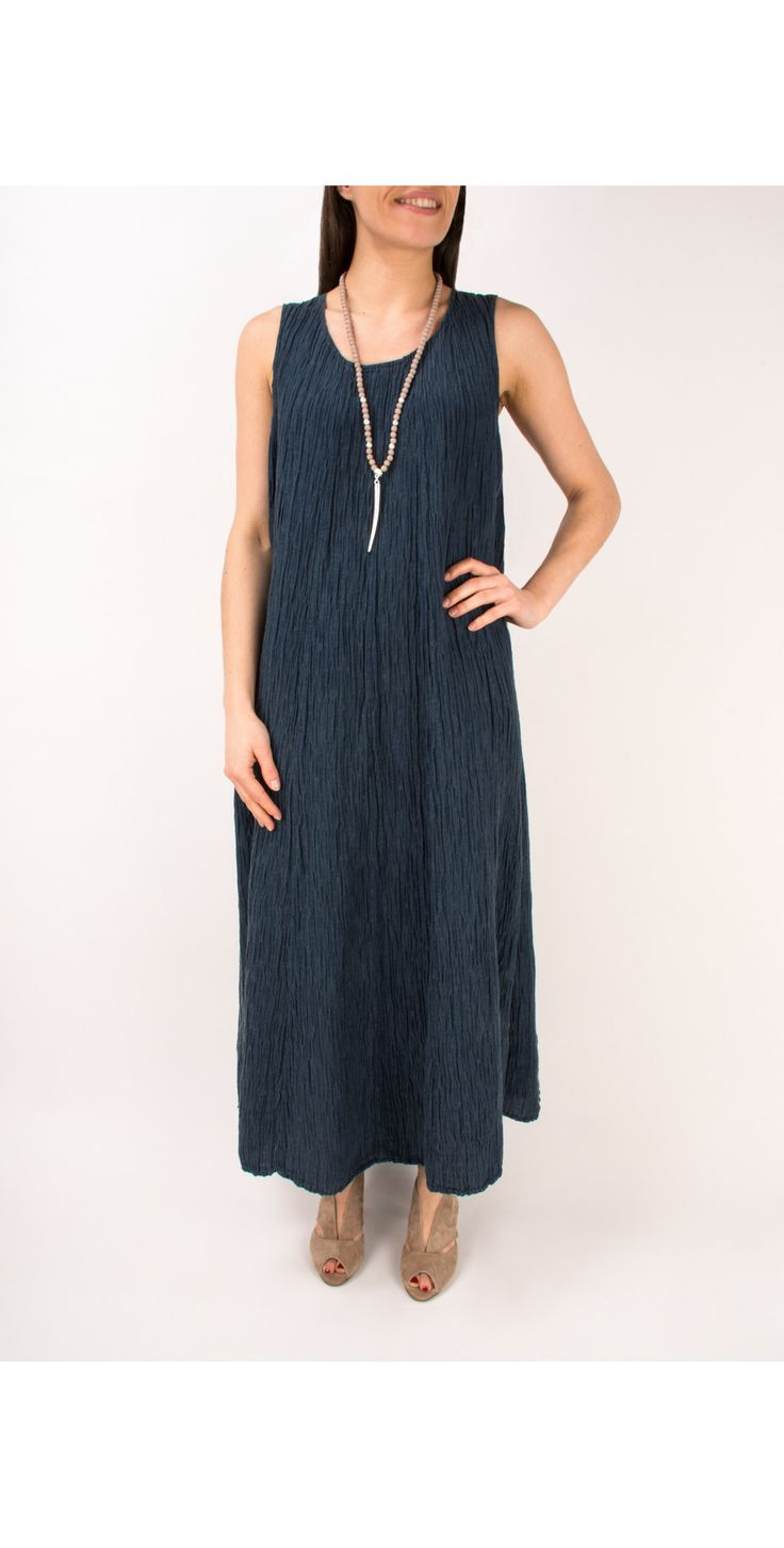 Shop the Grizas Silk Crinkle Long Dress in 421 Navy online at Gemini Woman. Receive FREE UK delivery when you spend over £95!