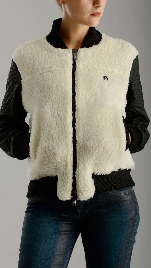 Materiale - Quilted sleeves bicoloured fleece cardigan