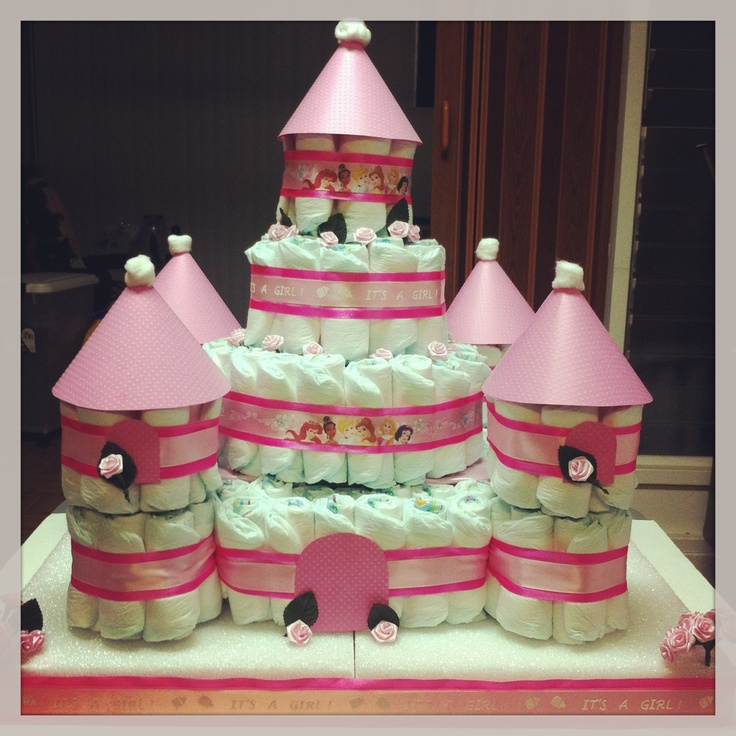 Disney Princess Diaper Cake.... So much more embellishments could've added but just ran out of time. The process was worth it.