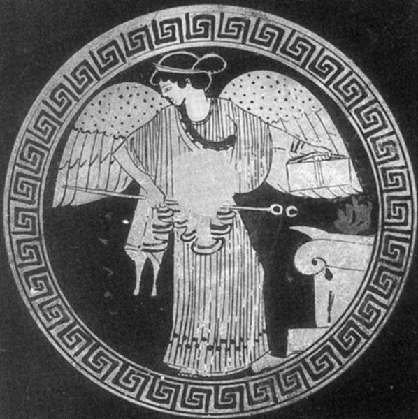 Depicts Iris with a caduceus; from an ancient Greek clay vase. London. Sotheby's. Photo. Sotheby's London F15923. © Sotheby's     A divine wand, in Greek 'kerykeion', especially carried by heralds, Hermes, Iris and others. Originally a forked stick, the terminals become stylized into loops, and then snakes.