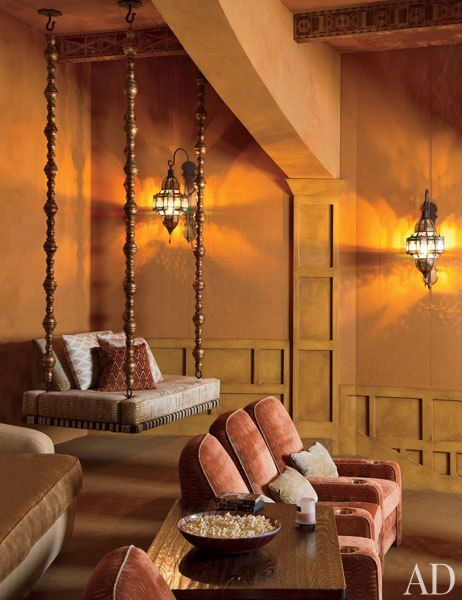 Wow check out this exotic screening room with Moroccan & Indian features!  Will and Jada Pinkett Smith at Home in Malibu.