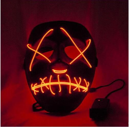 HO TSale2017 New Arrival PVC Scary Clown Mask LED Skull Mask Halloween Light Up EL Wire Mask For Antifaz Party Mascara Carnaval