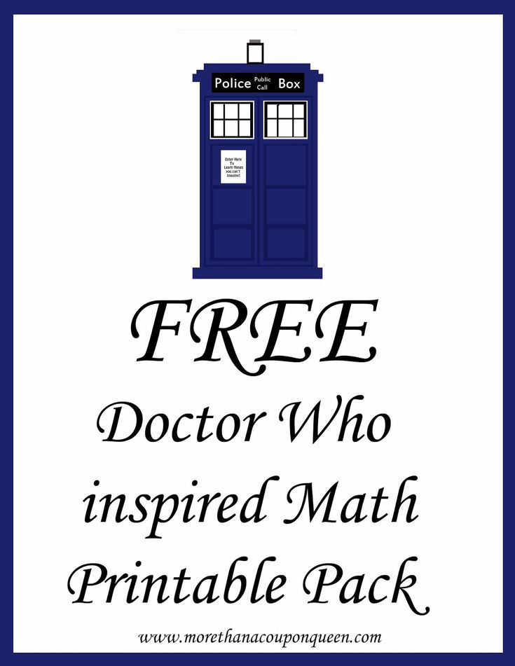 More Than A Coupon Queen : Free Doctor Who Inspired Math Printable Pack