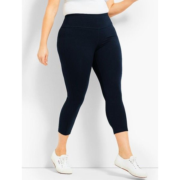 Talbots Womans Exclusive High Waist Side Strip Crop ($70) ❤ liked on Polyvore featuring plus size women's fashion, plus size clothing, plus size activewear, plus size activewear pants, plus size, yoga activewear, plus size sportswear, women's plus size activewear and talbots