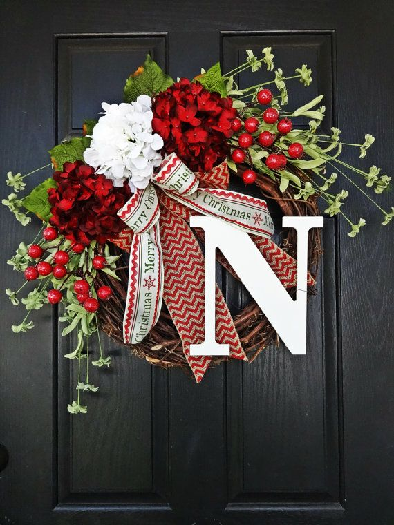 Red and White Hydrangea and Chevron Burlap by AnnabelleEveDesigns
