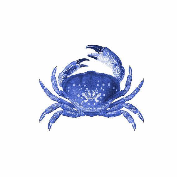 Crab Blue Nautical Vintage Style Art Print Beach House Decor | Sea ...